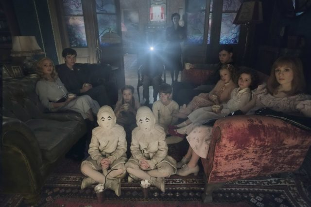 DF-02825modified - Seated on the floor: the twins (Thomas and Joseph Odwell), Fiona (Georgia Pemberton) and Hugh (Milo Parker), Left to right: Emma (Ella Purnell), Jake (Asa Butterfield), Horace (Hayden Keeler-Stone), Miss Peregrine (Eva Green), Enoch (Finlay Macmillan), Claire (Raffiella Chapman), Bronwyn (Pixie Davies) and Olive (Lauren McCrostie) - are the very special residents of MISS PEREGRINE?™S HOME FOR PECULIAR CHILDREN. Photo Credit: Leah Gallo.