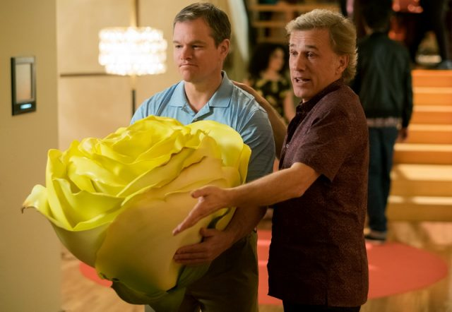 Matt Damon plays Paul and Christoph Waltz plays Dusan in Downsizing from Paramount Pictures.