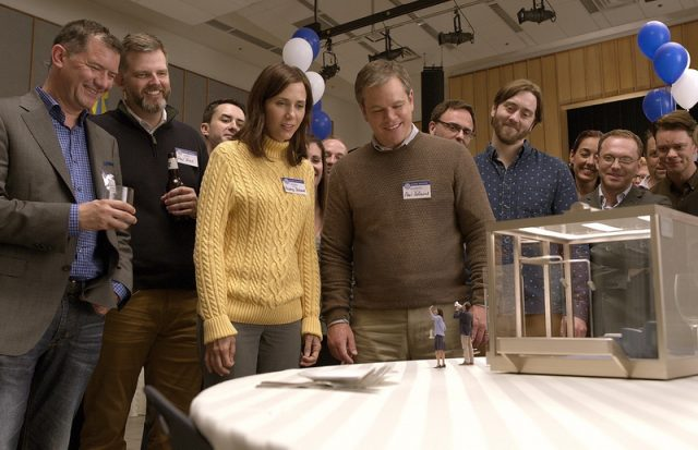 (Main Cast) Kristen Wiig plays Audrey Safranek, Matt Damon plays Paul Safranek, Maribeth Monroe plays Carol Johnson and Jason Sudeikis plays Dave Johnson in Downsizing from Paramount Pictures.